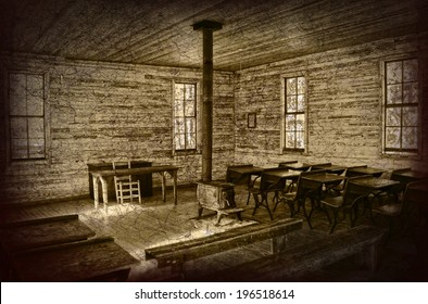 The interior of an old one room school house. It shows the old school desks and benches with a wood stove in middle of the room. This photo has had hdr applied as well as vignette and grunge texture.