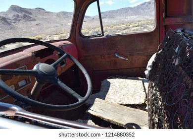 Interior of an old pickup in the desert
