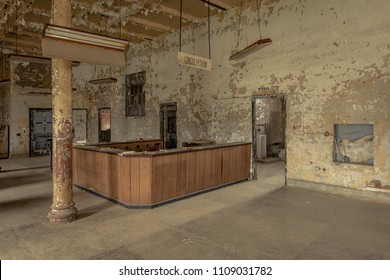 Interior of old prison hospital with brick walls