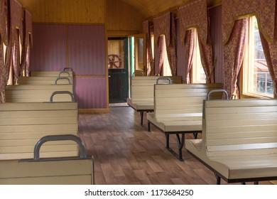 interior of the old railway passenger car