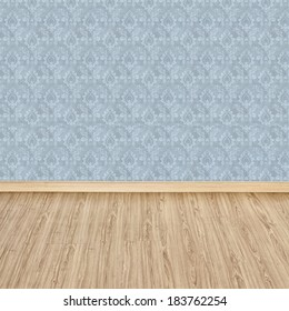 Interior of Old Room with a Wooden Floor and Blue Wallpaper