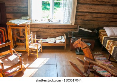 The interior of an old rural house.
