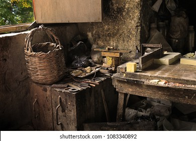The interior of an old soap atelier with a traditional Lebanese wicker basket in Tripoli, Lebanon.