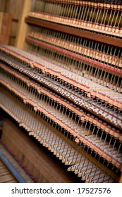 Interior of an old wooden pipe organ