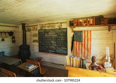 Interior of a one room school house. It was the first school in Montana from 1868. Nevada City, Montana.