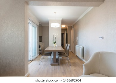 Interior of a open plan apartment, dining area
