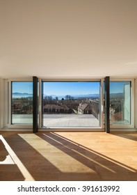 Interior, open window of a modern apartment, view from the living