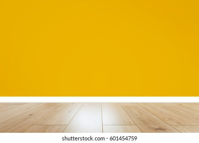 Interior with orange wall and wooden floor