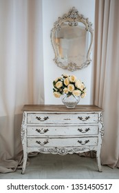 interior palace white chest of drawers flowers mirrow vintage old
