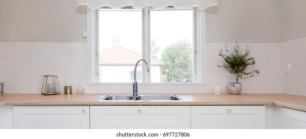 interior panorama kitchen sink by the window
