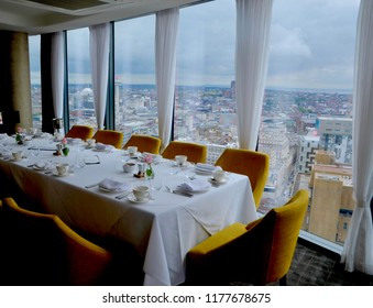 Interior of Panoramic 34 Restaurant, on the 34th floor of the West Tower in the city Port of Liverpool. Mersey, Liverpool England UK. SEPTEMBER 2018
