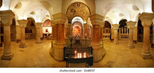 Interior panoramic view of Church of Dormition in Jerusalem, Israel.