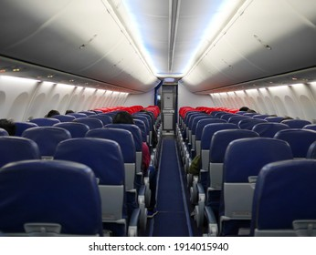 Interior and passengers on the plane