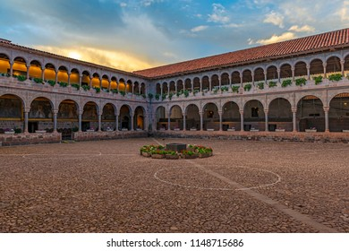 The interior patio of the Qorikancha Sun Temple and Santo Domingo convent famous for its Inca walls and stone work at sunset in the historic city center of Cusco, Peru.