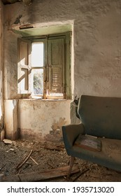 interior of a peasant house that has been disused for years and decadent