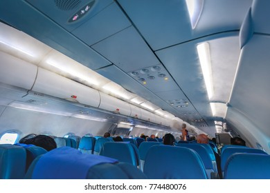 Interior of Philippine Airlines (PAL) with passengers on Nov 17, 2017 leaving Boracay Island in the Philippines