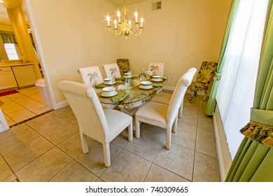 An interior photo of a dining room in a home