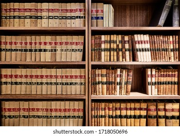 Interior photography detail of books on a shelf in a law firm