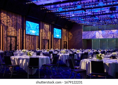 Interior photography of a large hotel ballroom decorated for a special event