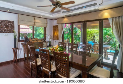 Interior photography set up the table for dinner in dining room