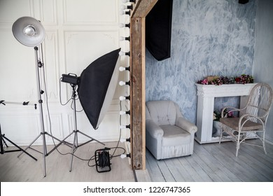 Interior of PhotoStudio flash light wall Chair