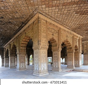 The interior, pillars and arches of Diwan i Khas (Hall of Private Audience) in historic Red Fort is constructed of white marble, inlaid with precious stones in New Delhi, India