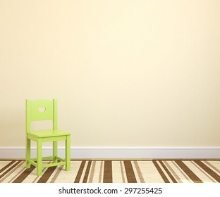 Interior of playroom with green chair near empty yellow wall. 3d render.