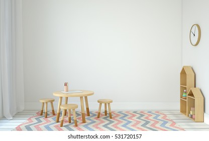 Interior of playroom with small table and three chairs. Scandinavic style. 3d render.