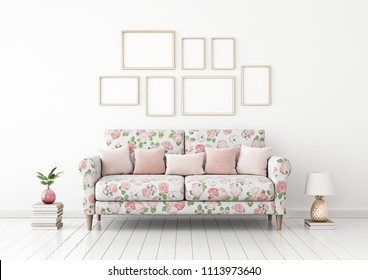 Interior poster mock up with frame composition on empty white wall in living room with colorful pink sofa. 3D rendering.