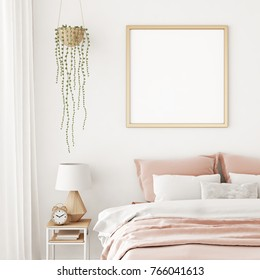 Interior poster mock up with square frame on the wall in home bedroom interior. 3D rendering.