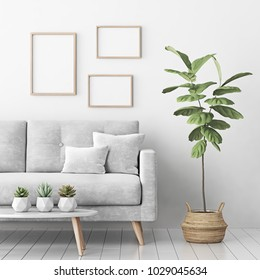 Interior poster mock up with three empty wooden frames, gray sofa, tree in basket and succulents in living room with white wall. 3D rendering.