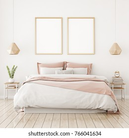 Interior poster mock up with two vertical frames on the wall in home bedroom interior. 3D rendering.