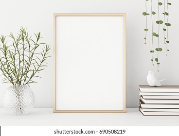 Interior poster mock up with vertical metal frame and plants in vase on white wall background. 3D rendering.