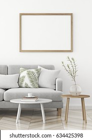 Interior poster mock up with wooden horizontal frame in scandinavian style livingroom. 3d rendering.
