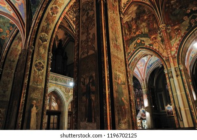 Interior of PRAGUE, CZECH - OCTOBER 26, 2014: Church of St Peter and St Paul in Vysehrad castle in Prague