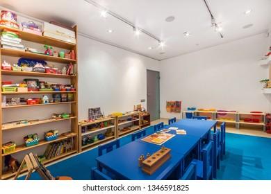 Interior of preschool kindergarten. Art room for education children's creativity