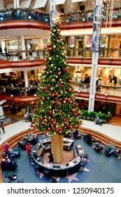 Interior of Princes square shopping mall in Glasgow Buchanan street. Luxury shopping precinct in the city centre, Glasgow. Scotland UK. dECEMBER 2018