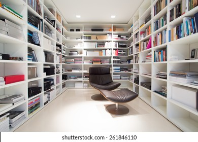 Interior of private library at home