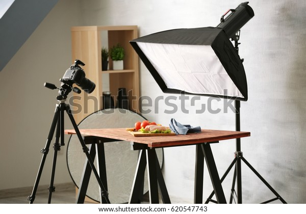 Interior of professional photo studio while shooting food