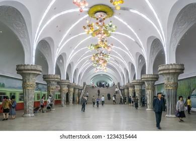 Interior of Pyongyang Metro, North Korea, May 23, 2018