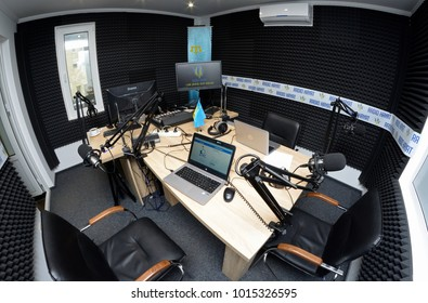 Interior of a radio studio with equipment set for broadcasting. Radio marathon to Radio Day. January 3, 2018.  Kiev, Ukraine