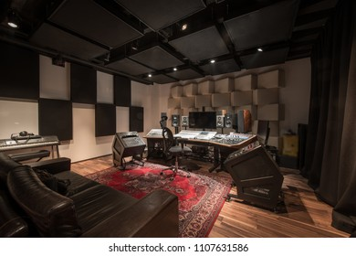 Interior of recording studio control desk