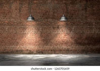 An interior with a red brick wall and concrete floor