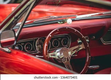 Interior of a red retro car