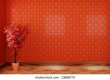 Interior with red wallpaper and plant
