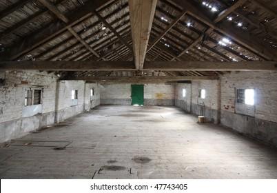 Interior of Redundant farm building in UK