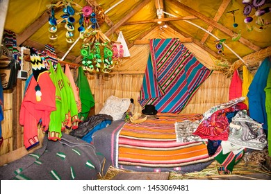 Interior of a reed house on Uros floating islands, Titicaca lake, Peru. South America.