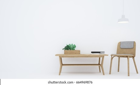 The Interior Relax Space Furniture 3d Rendering And Background White  Decoration In Condominium