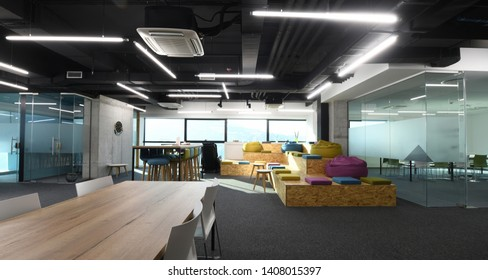 interior of relaxation area in Modern sunny bright Open Plan Office