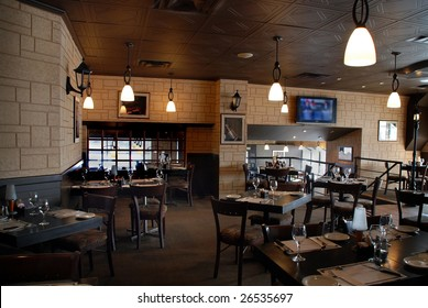 interior of a restaurant bar, wooden table and chair